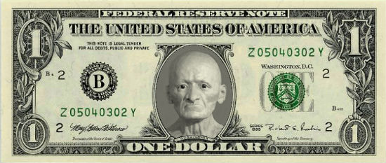 nota de dólar com sua cara