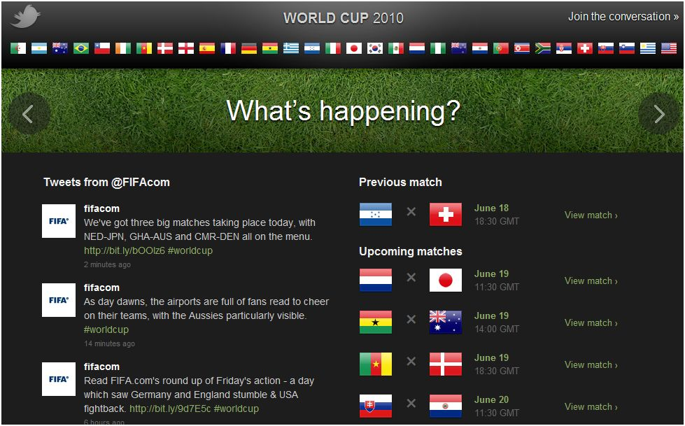 Twitter FIFA world cup 2010