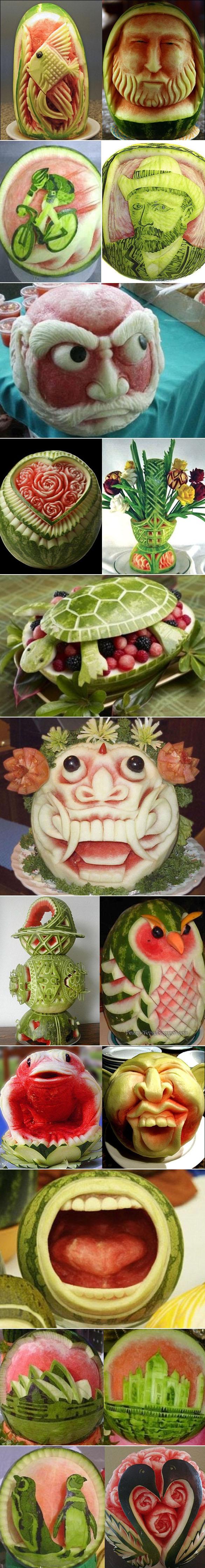 Esculturas na melancia