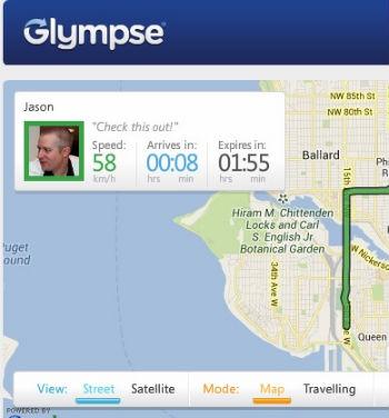 Glympse compartilhe localização